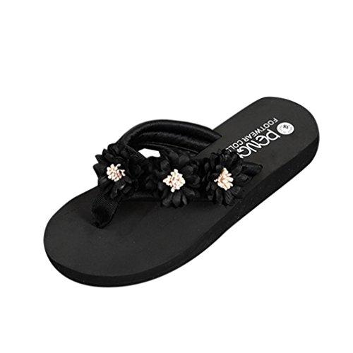 Damen Flip Flops, Xinan Sommer Mode Flach Boden Keilabsatz Slipper Frauen Casual Elegant Outdoor Innen Blume Hausschuhe Flip Flops Strandschuhe Badeschuhe Zehentrenner Schuhe (EU:40, Schwarz) (Leder-peep-toe Bootie)