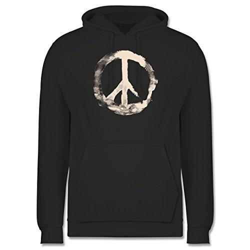 Statement Shirts - Frieden - Peacesymbol weiss - Männer Premium Kapuzenpullover / Hoodie Dunkelgrau