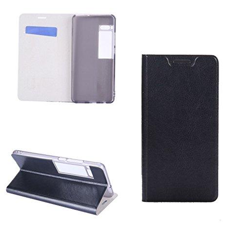 Hülle Meizu Pro 7 Plus , Digital Bay Taschen [Flip Armor] Kartenfach [Diamant Schwarz] Doppelte Schutzschicht mit Luftpolster-Kantenschutz - Card Holder Schutzhülle , Jet Black
