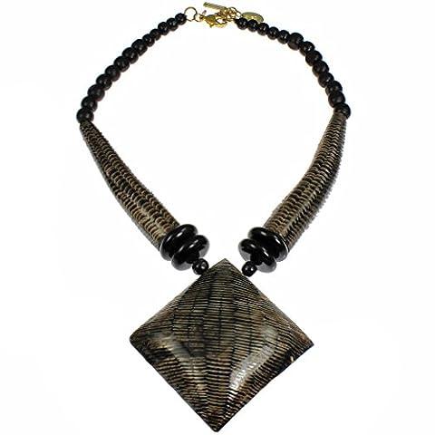 Natural buffalo horn brown oversized big pendant wood bead choker necklace