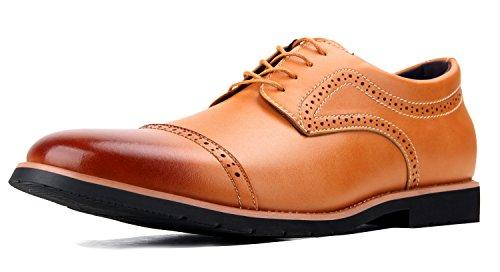 iLoveSIA Schnürhalbschuhe Herren Britischer Stil Leder Brogue Lederschuhe Anzugschuhe Derby Braun 45 EU - US11.5