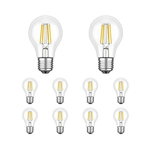 ledscom.de E27 LED Leuchtmittel Filament A60 3,6W =37W Warm-weiß 400lm A++ für Innen und außen, 10 Stk.