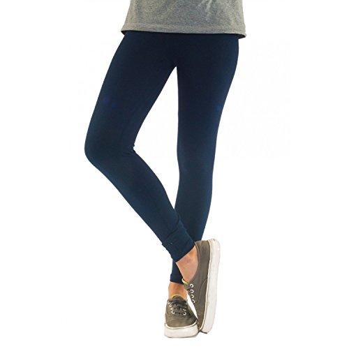 Blickdichte Damen Leggings aus Baumwolle Leggins Knöchellang in schwarz weiß grün grau rot gelb, Farbe: Dunkelblau, Größe: 44-46