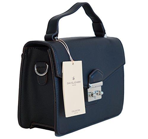 Borsa donna mini bag David Jones in ecopelle modello cartella, portabile a mano e a tracolla Nero