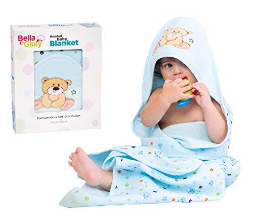 Bella&Giuly Kapuzenhandtuch, Badeponcho für Neugeborene und Babys | Kapuzenbadetuch extra sanft | Babydecke mit Kapuze | 100% Baumwolle | 90x90 cm Badetuch (Blau) (Extra Großes Baby Badetuch)