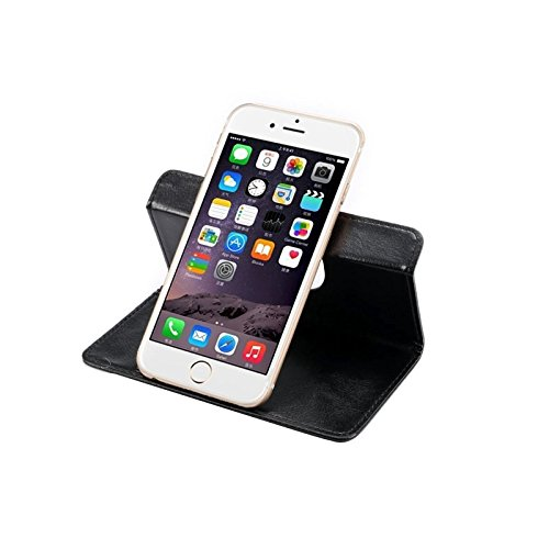 Wkae Case & Cover 4,3-4,8 Inch Universal Crazy Horse Texture 360 degrés de rotation Carry Case avec support et fentes de cartes pour iPhone 6 et 6S / S3 / i9500 / i9300 S4 / Samsung Galaxy ( Color : Black