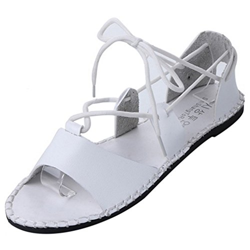 COOLCEPT Femmes Mode Lacets Sandales Orteil ouvert Appartement Chaussures Beach Style Blanc