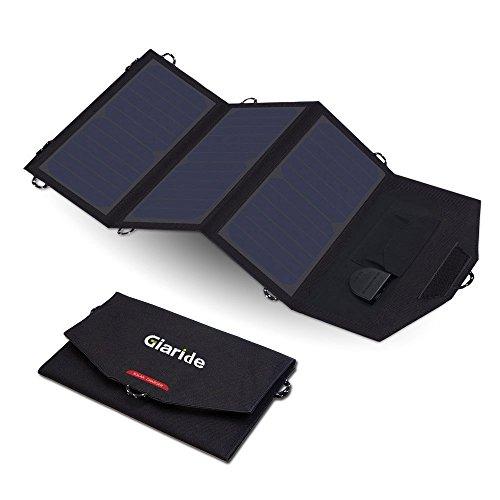 GIARIDE 18V 21W Faltbar Solarladegerät 5V USB/18V DC Sunpower Solarpanel Outdoor Solar Ladegerät für Handys, iPhone, iPad, Galaxy, LG, Huawei, Anker Powerbank, Tablet, 12V Autobatterie