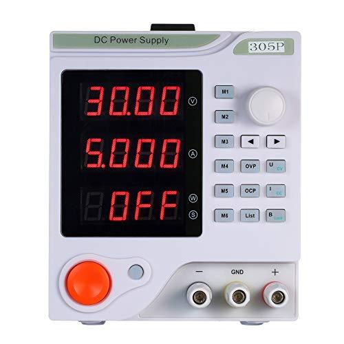 KKmoon 4 dígitos Pantalla LED Fuente de alimentación de CC programable Variable de alta precisión Ajustable 0-30V 0-5A de conmutación Regulación digital de grado de laboratorio regulada