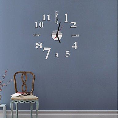 zhENfu Llegada de Venta Directa 2016 Espejo acrílico Sol Relojes de pared 3D Decoracion DIY Arte del reloj de cuarzo cristal Watch,blanco