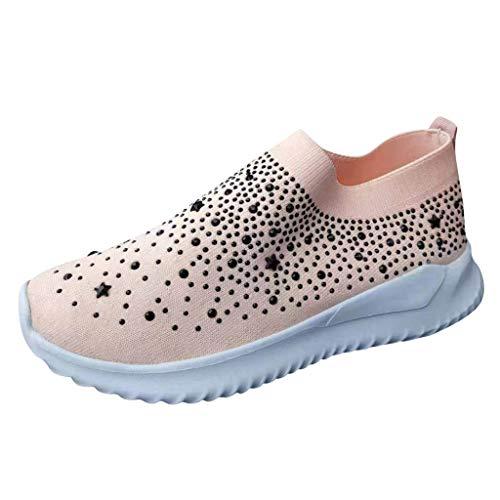 Sportschuhe Damen Socken Schuhe Flache Bootschuhe Müßiggänger Crystal Fashion Laufschuhe Lofer Bling Turnschuhe Freizeitschuhe, Rosa-2, 36 EU