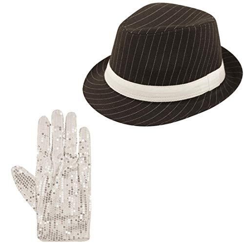Islander Fashions Erwachsene Gangster-Hut und Pailletten Handschuhe 70 80er Kost�m Zubeh�r (Black Hat + Seqin Handschuhe) One Size (Michael Jackson Womens Kostüm)