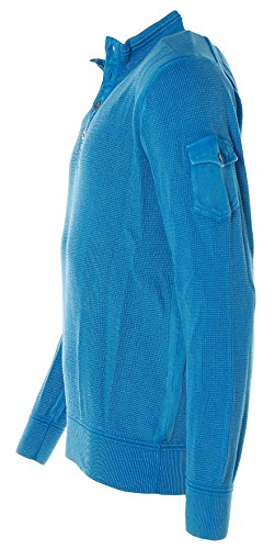 Kitaro Herren Pullover Strick Troyer Strickmix Malibu Blue