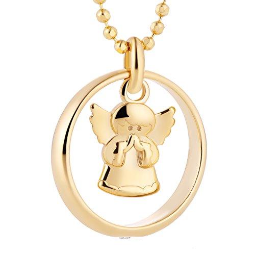 fish Jungen, Mädchen-Silberkette 925 Sterlingsilber Taufring Engel mit Swarovski Elements klar vergoldet 38 cm, Taufschmuck