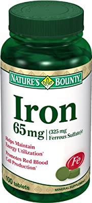 Nature's Bounty Iron 65 Mg.(325 Mg Ferrous Sulfate), 100 Tablets, (Pack Of 2) from Nature's Bounty