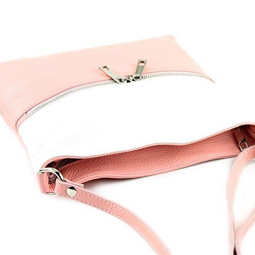 modamoda de - ital. Ledertasche Crossover Schultertasche Damen Umhängetasche Leder T144 Rosa/Weiß