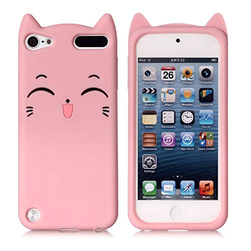 Schutzhülle für Apple iPod Touch 6. Generation, strapazierfähig, stoßfest, mit Strasssteinen, Hybrid-Schutzhülle aus Silikon für Apple iPod Touch 5 6. Generation, Rosa/Katze