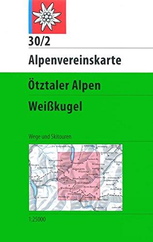 30/2W Ötztaler Alpen - Weisskugel. Trekking. Escala 1:25.000. Alpenverein.