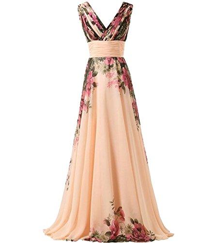 KAXIDY Vestito Fiore Donna Vestiti da Sera Eleganti Vestito da Sera Lungo Abiti  da Cocktail Abiti da Sera (X-Large) 1cd7a493808