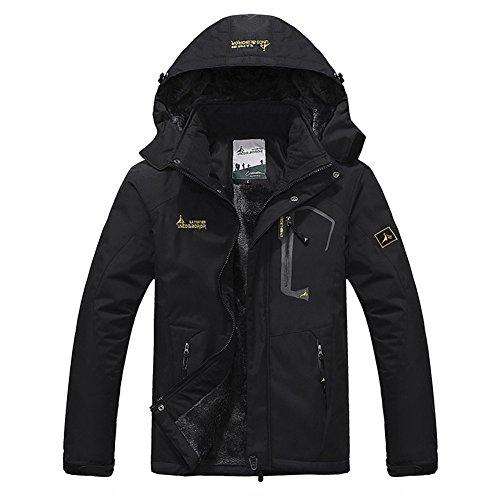 Softshelljacke Herren Gefüttert Funktionsjacke Wasserdicht Atmungsaktiv Wandern Outdoor Jacke Winter Skijacke Schwarz, Gr. EU-L/Asia-2XL