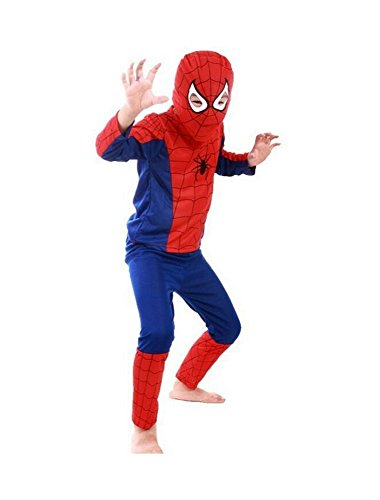 DS (GR. 92-116) KOSTÜM *SPIDERMAN* HALLOWEEN FASCHING -3 TEILE- SHIRT HOSE MASKE (110)