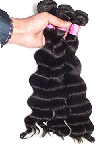 NuoYa 005 Lot de 3 Paquets de 100% naturels Qualité Remy Cheveux malaisiennes 5A olive vierge en vrac à Cheveux extension Noir 14, 16\\