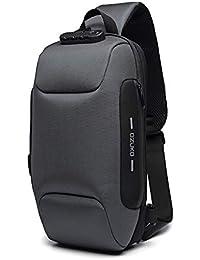 OZUKO Casual Sling Bag, Mochila de Hombro Bolsas de Hombro Impermeable Crossbody Bolsa Sling Pecho Bolsas, Hombres Sport Fitness Chest Bag con Puerto de Carga USB