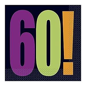 """60a Partido Ênico""""Cumpleaños Cheer"""" Papel Servilletas (paquete de 16)"""
