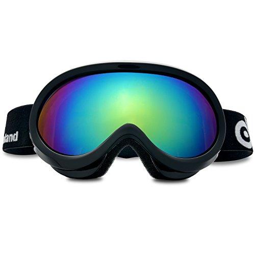 Occhiali da sci, ODOLAND Occhiali da sci per i giovani di età 8-16 - protezione UV400 e Anti-Fog - Doppio grigio sferica lente confortevole per soleggiato e nuvoloso giorni perfetti per il pattinaggio sci Motoslitte (Nero)