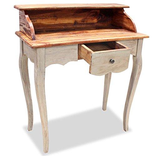 Festnight scrivania piccola retro classica in legno massello di recupero con un cassetto 80x40x92 cm