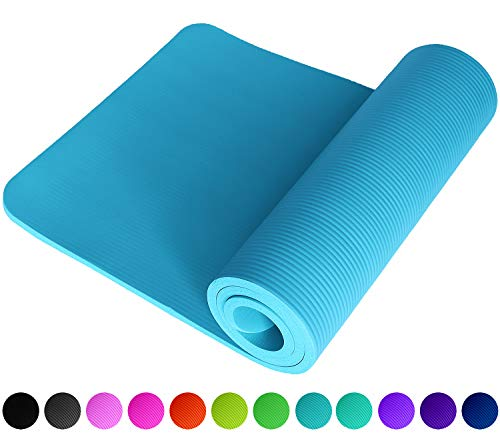 Fitnessmatte Hellblau Babyblau Himmelblau Lightblue SkyBlue Cyan Fitness Gymnastik Sport Turnen Pilates 1,5 cm dick weich 183 x 61 Trageband rutschfest Yogamatte Gymnastikmatte Unterlage ReFit