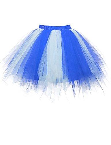 RuiyuhongE Damen Retro Kurz 50er Petticoat Reifrock Tutu Unterröcke Braut Crinoline Ballett Blase Tanzkleid (S/M, Blau/Weiß) (Rock Braut)
