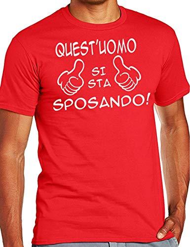 Wixsoo t-shirt maglietta addio al celibato sposo divertente (m, rosso)