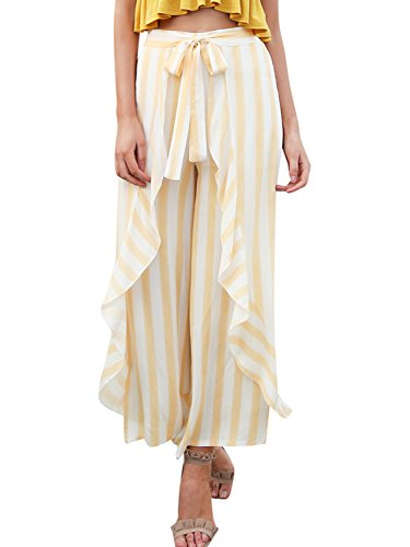 Missy Chilli Women's Ruffle High Waist Elastic Leg Wide Striped Chiffon Trousers Summer Casual Vintage Beach Pants