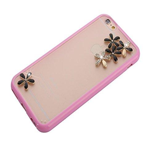 wkae Schutzhülle Case & Cover superdünn transparent Stereoscopic Diamant besetzt Pflaume TPU Schutzhülle für iPhone 6Plus & 6splus rose