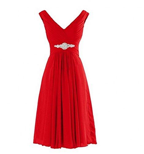 Charmant Damen 2017 Neu Flieder V-ausschnitt Chiffon Kurz A-linie Rock Abendkleider Partykleider Brautjungfernkleider Rot
