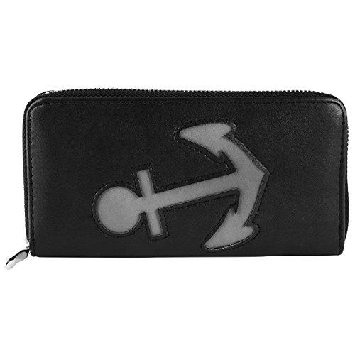 Damen Reißverschluss Geldbörse Portemonnaie Geldbeutel Portmonee Anker Marine, Farbe:Schwarz