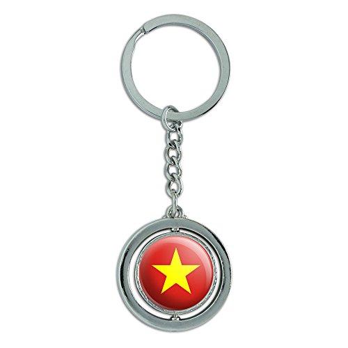 Vietnam National Land Flagge Spinning rund Metall Schlüsselanhänger Schlüsselanhänger Ring (Vietnam 3d)