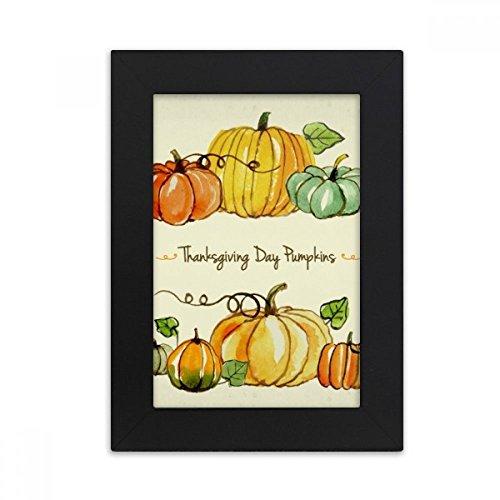ürbis Thanksgiving Tag Muster Desktop-Foto-Rahmen-Bild Schwarz-Kunst-Malerei Passt 10.2 x 15.2cm (4 x 6 Zoll) Bild Mehrfarbig ()