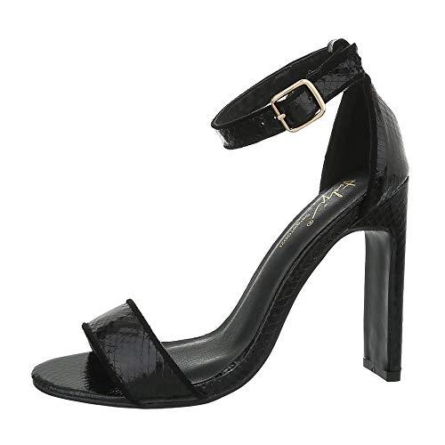 Ital-Design Damenschuhe Sandalen & Sandaletten High Heel Sandaletten Synthetik Schwarz Gr. 41