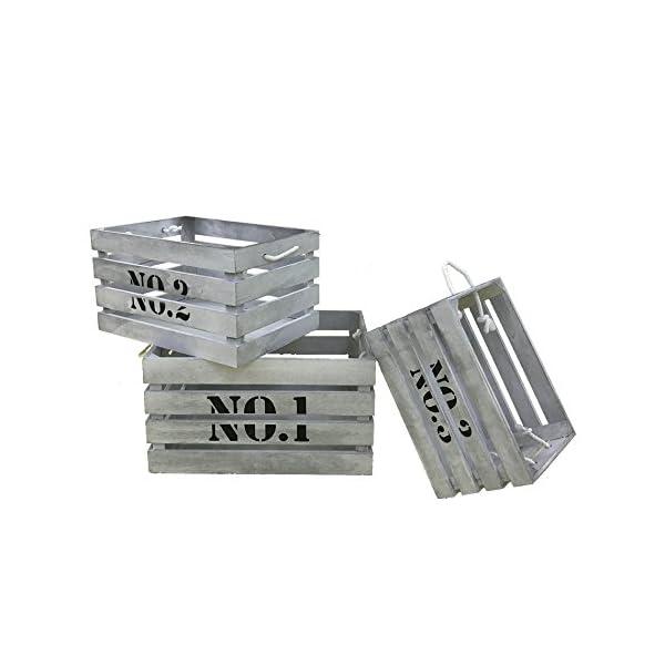 Rebecca Mobili Set 3 Pz Cassette Ceste Contenitori Legno Paulownia ...