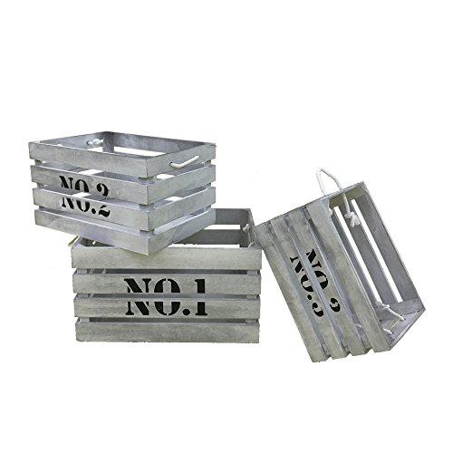 Mobili Rebecca® Juego de 3 piezas Cajas de madera Cajas para Decoupage Decoracíon Estilo Retro Vintage Gris (Cod. RE4292)