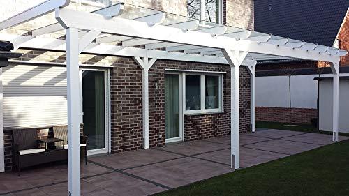 Luxbach GmbH Terrassenüberdachung 600x350 cm / 6x3,5 m Terrassendach Überdachung Carport Leimholz Pergola BSH Holz Stegplatten 16mm Klar Hohlkammerplatten