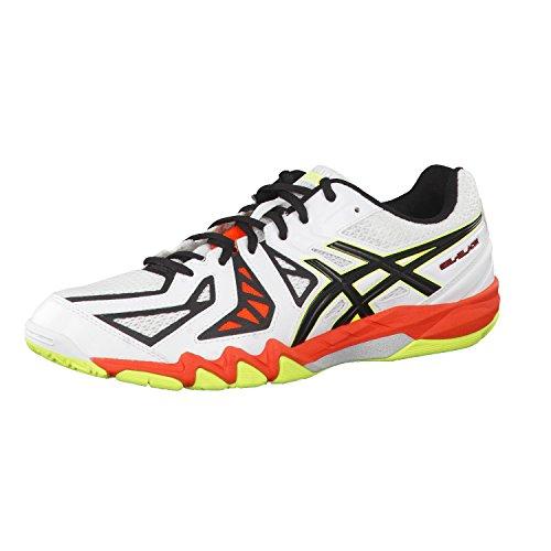 Asics Gel-blade 5, Chaussures de Squash Homme Weiß (white/black/cherry Tomato 0190)