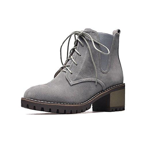 FUFU Scarpe Donna PU Suede Scarpe Inverno Comodità Boots Tacco Chunky Round Toe Lace-up per Outdoor Office & Carriera Nero Marrone Grigio ( Colore : Marrone , dimensioni : EU36/UK4/CN36 ) Grigio