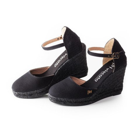 VISCATA Satuna Ankle-Strap, Closed Toe, Classic Espadrilles with 3-inch Heel Made in Spain Noir - Black Jute
