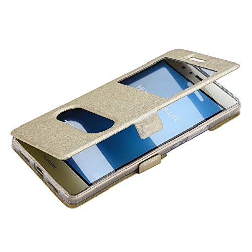 MUKUTECH Hülle für Huawei P9 Lite - Smart Cover Handyhülle, Case Flip Tasche Schutzhülle mit Standfunktion und Magnetverschluss in Gold
