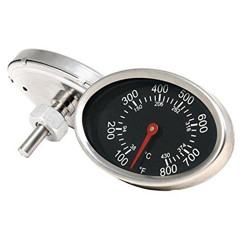 BBQ-TORO Ovales Grillthermometer bis 430 °C / 800 °F, Thermometer für alle Grills, Smoker, Räucherofen und Grillwagen, analog, Grillzubehör (Anzeige: Celsius und Fahrenheit)