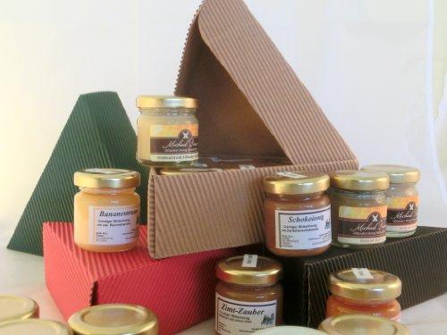 Geschenkbox Honig 6 x verschiedene Honige wie z.B. Banane in Honig, Nuss in Honig, Schoko in Honig, Chili in Honig | gut als Honig Geschenk, Geschenkidee Honig, Geschenkideen Mann, Geschenk Frau Freund Freundin, Honiggeschenk, Geschenk mit Honig, Geschenke, Weihnachten, Ostern -