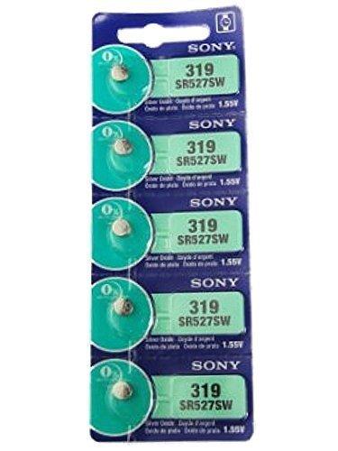 Sony Uhrenbatterie, 1.55V, Silberoxid, Knopfzelle 1 Streifen von 5 Batterien, Verschiedenen Modelle, 0% Mercury, Lang Haltbarkeit, 377, 364, 371, 379, 394, 392, 384, 373, 399, 395, 362, 317, 397 - Uhrenbatterie 319